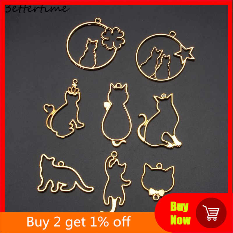9Pcs Cute Kucing Liontin Bingkai Logam Perhiasan Membuat UV Resin Hiasan Panel Pengaturan