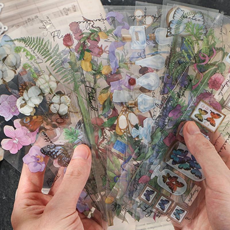 6pcs Vintage plants lemon Cotton Glass bottle PET stickers package DIY diary Journal decoration label sticker album scrapbooking