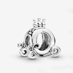 Wholesale 100% Real 925 Sterling Silver Not Allergic Polished Crown O Carriage Charm Fit pandora Charm bracelet Bead DIY Jewelry