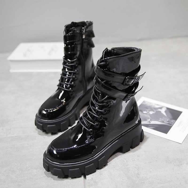 Kadın Platformu Martin Bootie Rahat Su Geçirmez yağmur çizmeleri Kadın Sonbahar Düşük Topuk Ayakkabı Rugan Çizmeler Motosiklet Çizme