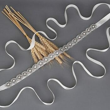 TRiXY S28-S Silver Diamond Belt Ribbon Sash with Rhinestones Belts for Formal Dress Bridal Wedding