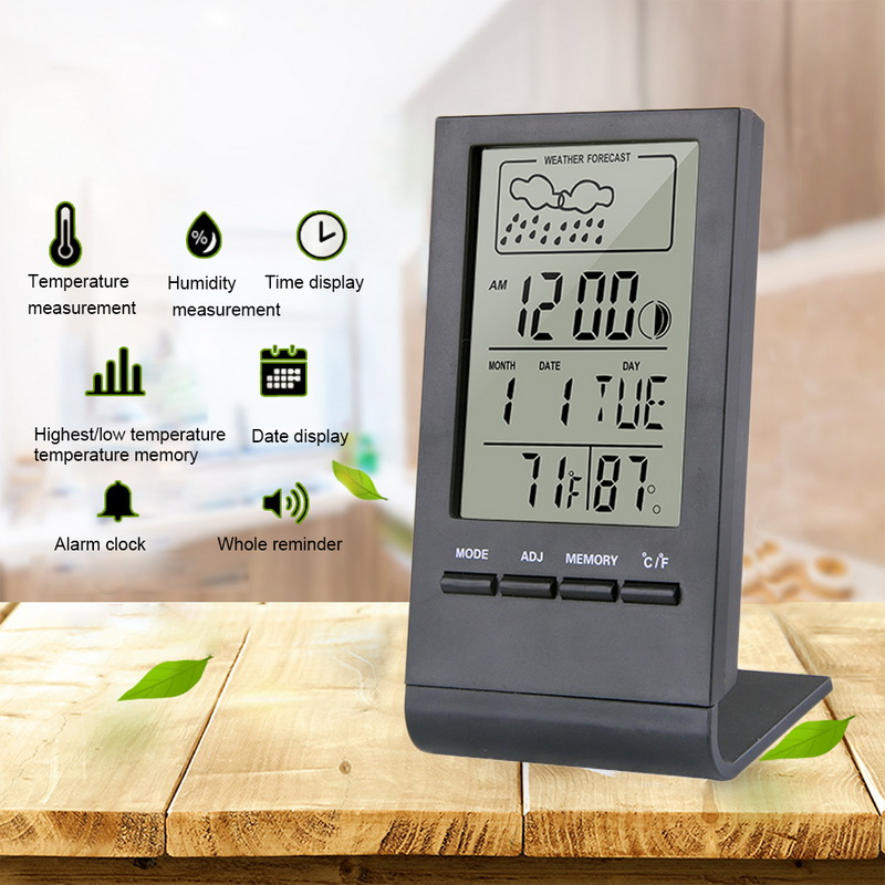 3in1 Multifunction Weather Station Digital LCD Thermometer Hygrometer Clock