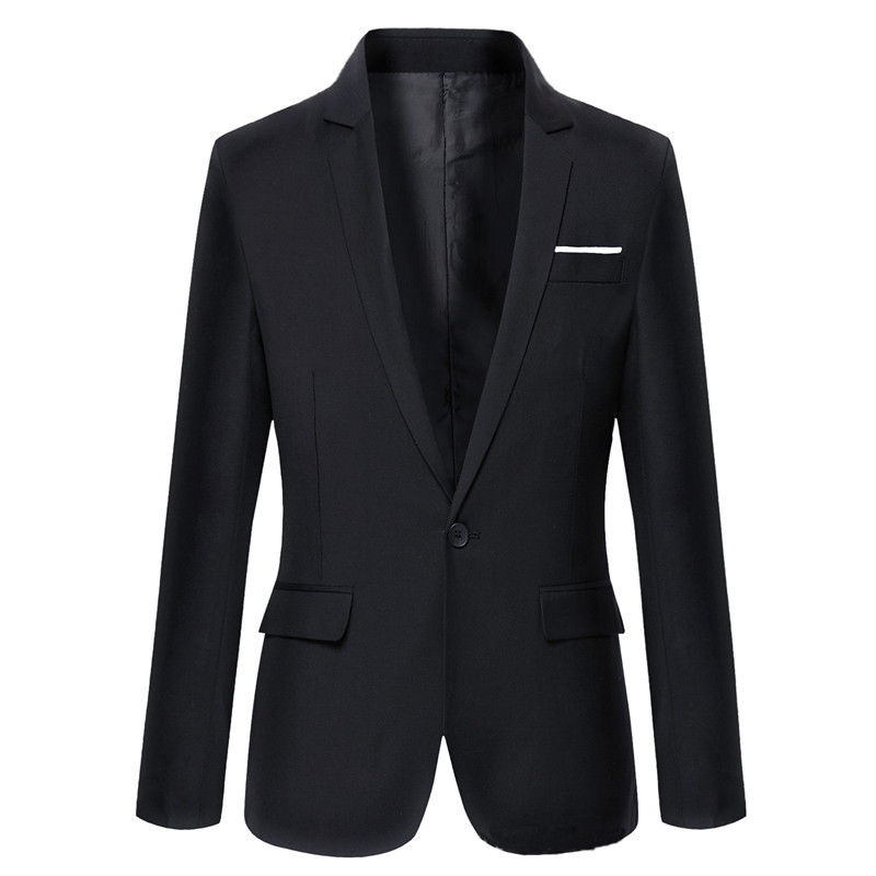 Hot sale Mens Korean slim fit arrival cotton blazer Suit Jacket black blue  plus size s to 4XL Male blazers Mens coat Wedding 5