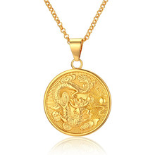 Dragon Pendant Necklace for Women Men 12 Zodiac Sign Constellation Gold Filled Womens Necklaces Round Shaped