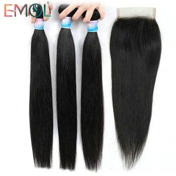 цена на Emol Straight Hair Bundle With Closure Peruvian Hair 3/4 Bundles With Lace Closure Non-remy Human Hair Bundles