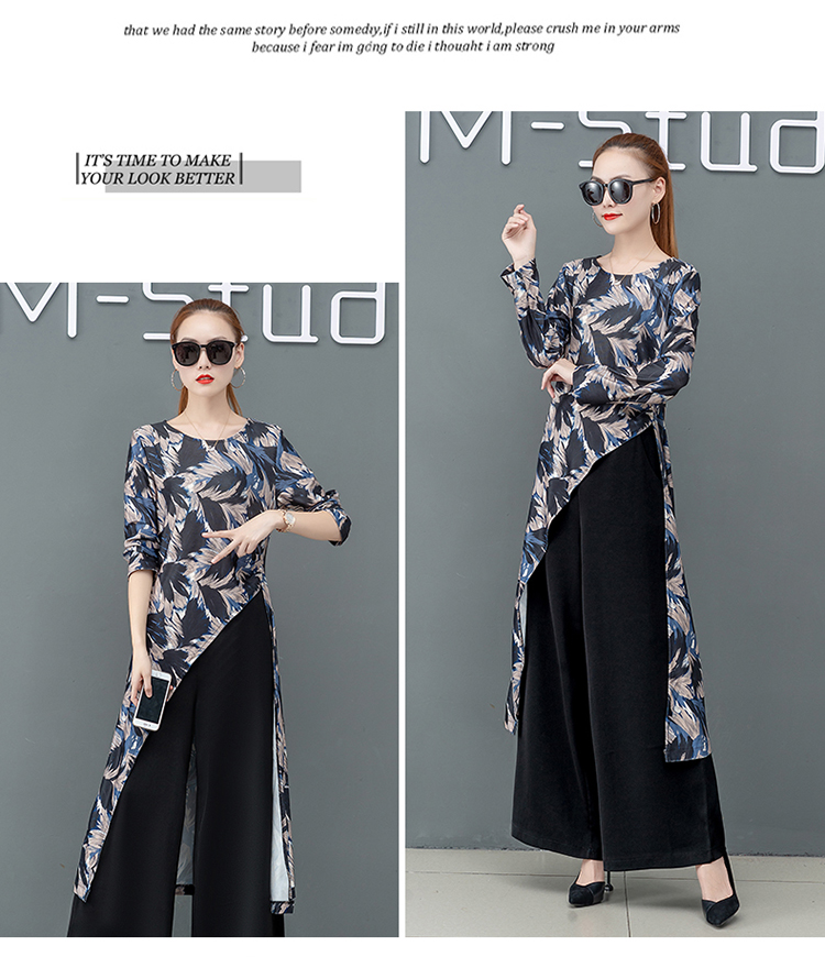 Printed Two Piece Sets Outfits Women Plus Size Splicing Long Tops And Wide Leg Pants Suits Elegant Office Fashion Korean Sets 54