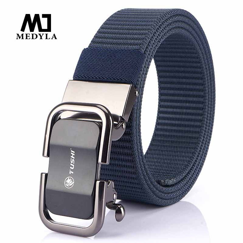 Medyla 2020 New Casual Belt Men's Fashion Automatic Buckle Canvas Belt High Quality Youth Student Trendy Wild Nylon Belt