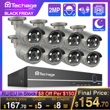 Techage H.265 8CH 1080P POE NVR 키트 CCTV 보안 시스템 양방향 오디오 2MP AI IP 카메라 IR 야외 비디오 감시 2 테라바이트 HD