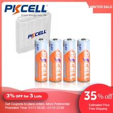 4 pces pkcell aa 2500mwh 1.6v ni zn aa baterias recarregáveis 2a bateria nizn e 1pcs aa/aaa bateria caixa de armazenamento caso para brinquedo
