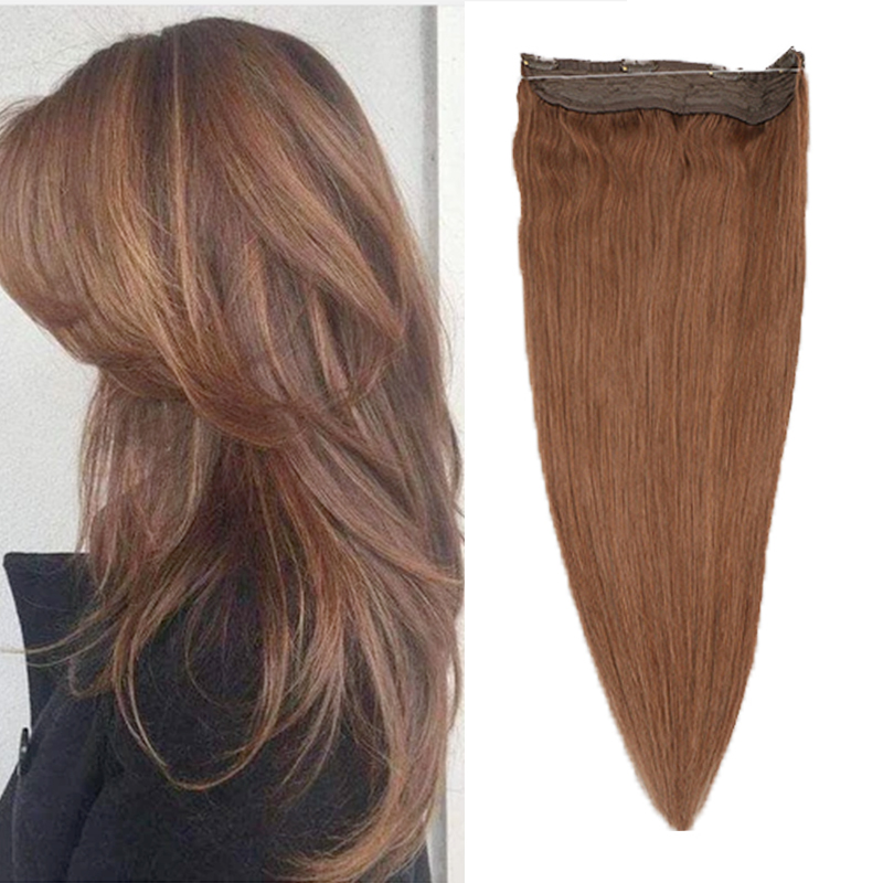 Toysww Straight Flip In Hair Extension Invisible Wire With 4 Clip One Piece Halo Human Hair Extensions For Women
