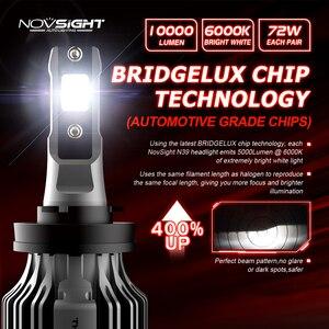 Image 3 - NOVSIGHT Led reflektor samochodowy H1 H3 H4 H7 H11 H8 H9 H13 9005 9006 9007 9003 72W 10000LM 6000K reflektor samochodowy żarówki do lamp przeciwmgielnych
