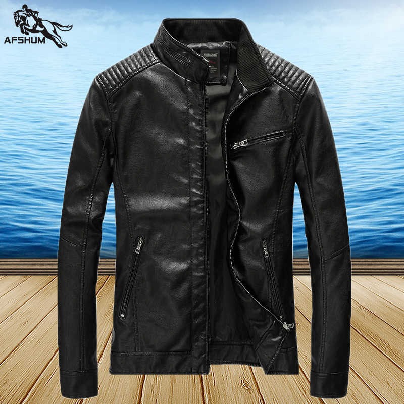 İlkbahar sonbahar PU deri ceket erkekler eğlence DERİ CEKETLER yıkanmış ince motosiklet deri jaqueta ceket blouson cuir homme