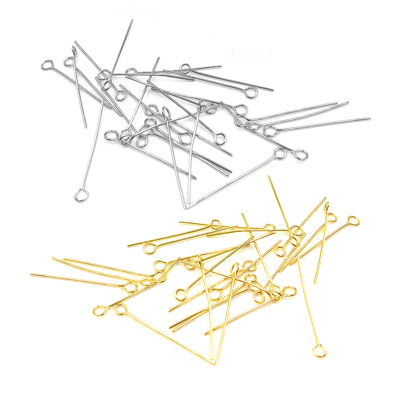 100pc/lot Stainless Steel 15 20 30 40 50mm Flat Head Pins Gold/Silver Headpins For DIY Jewelry Findings Making Accessories
