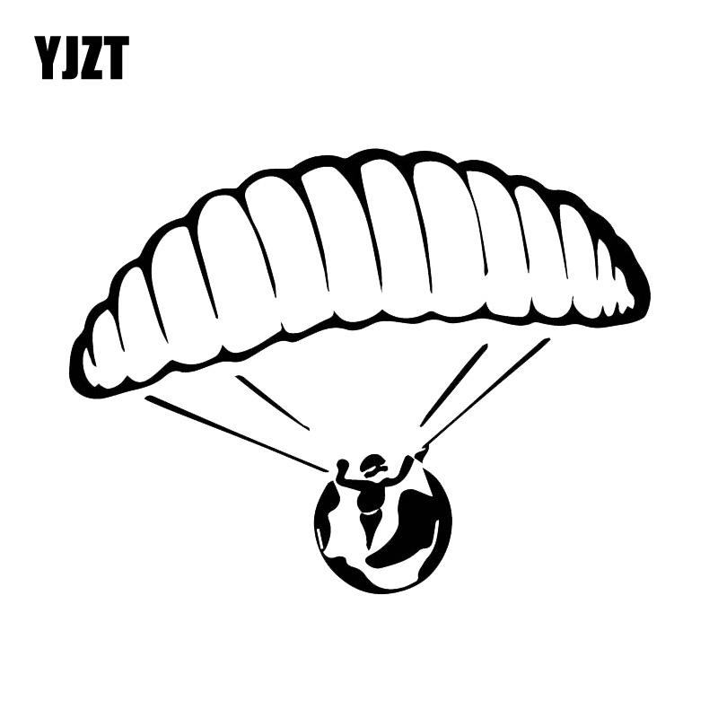 YJZT 12CM*15.6CM Car Personality Parachute Car Stickers Decorative Vinyl Fashion Decals Black/Silver C30-0398