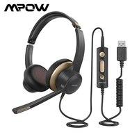 Mpow-Auriculares 328 con cable para negocios, cascos con micrófono y USB, 3.5 mm, con control el línea para Skype, PC, ordenador y teléfono móvil