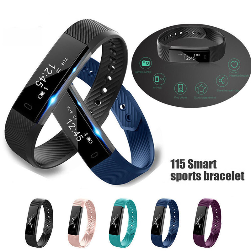 ID115 Color Screen Smart Bracelet Sports Pedometer Watch Fitness Running Walking Tracker Heart Rate Pedometer Smart Band