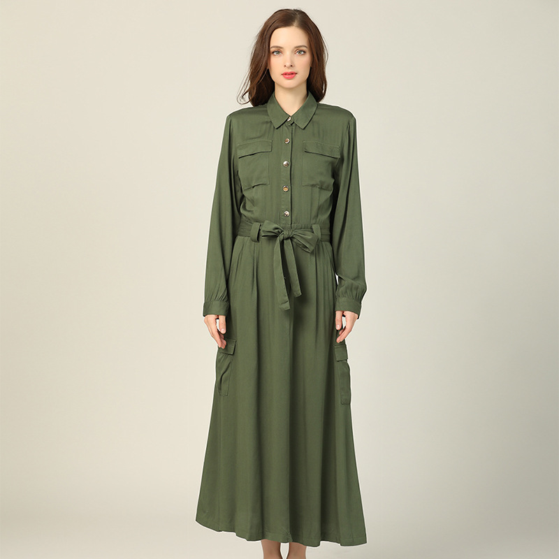 2019 Autumn New Style WOMEN'S Dress Korean-style Slim Fit Long Sleeve Fold-down Collar Long Multi-pockets Coat Shirt Dress Fashi