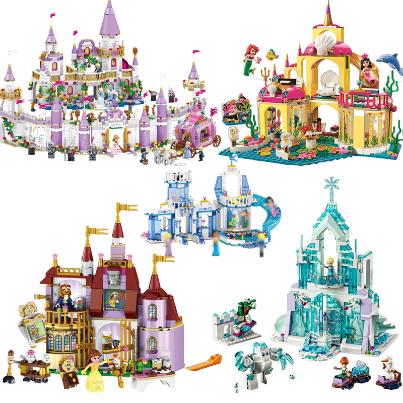 New Elsa Anna Belle Ariel Moana Cinderella Ice Castle Building Blocks Bricks  Princess Girl Friends Christmas Toys