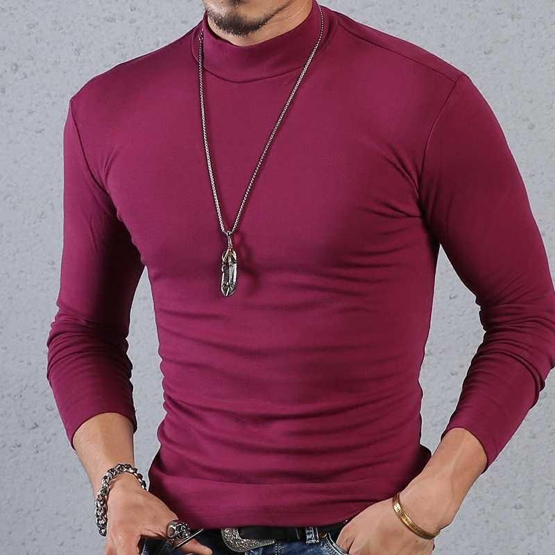 T 셔츠 남성 t-셔츠 긴 소매 tshirt 절반 터틀넥 t 셔츠 코튼 겨울 봄 기본 t-셔츠 남성 의류 탑스 streetwear