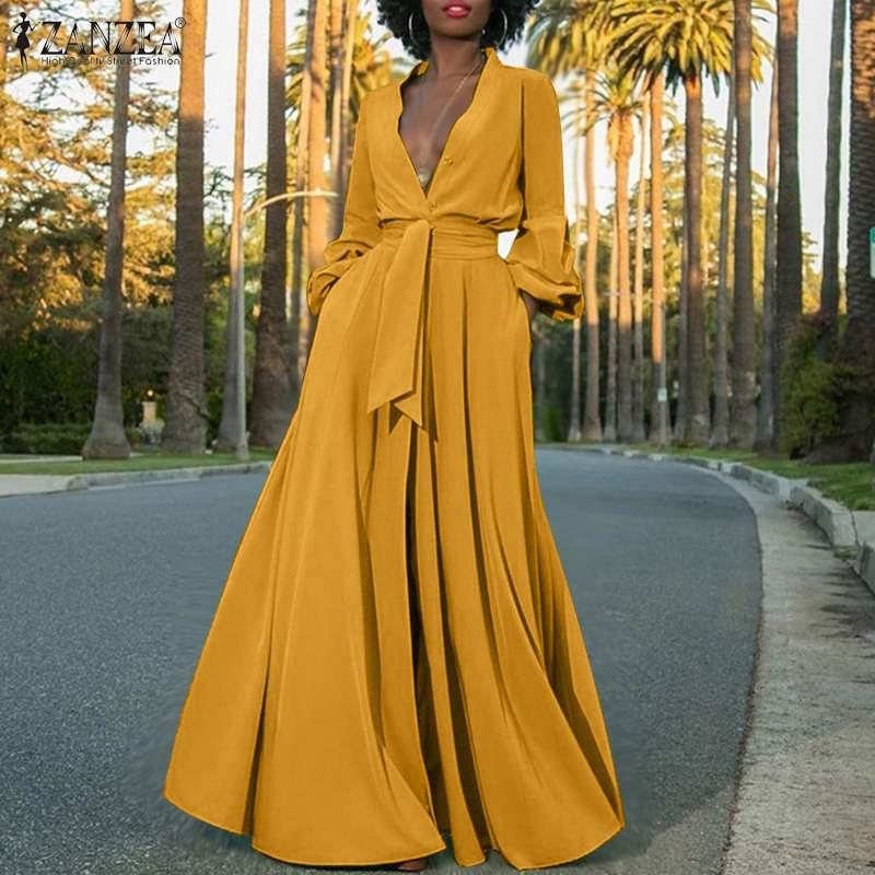 Plus Size Women's Maxi Sundress 2020 ZANZEA Stylish Summer Shirt Dress Sexy Puff Sleeve Vestidos Female Button Solid Robe 5XL