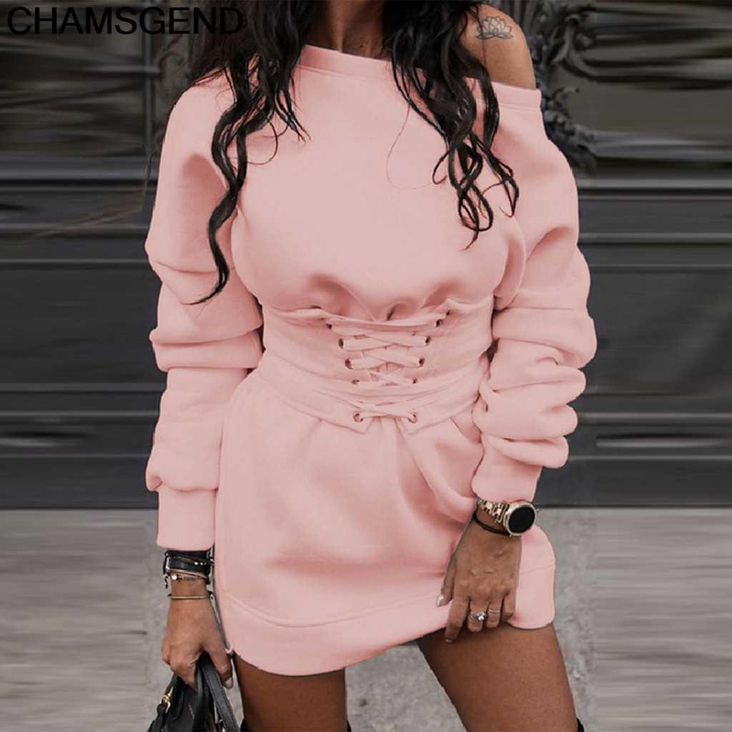 Kleid Winter Streetwear Vestido Weibliche Mode frauen Feste Oansatz Langarm Fleece Dicken Kleid + Bund Gürtel Bandage Kleid