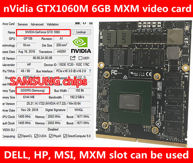 New Original NVidia GeForce GTX 1060M GTX1060M Video Card With X-Bracket N17E-G1-A1 6GB GDDR5 MXM For Dell Alienware MSI HP