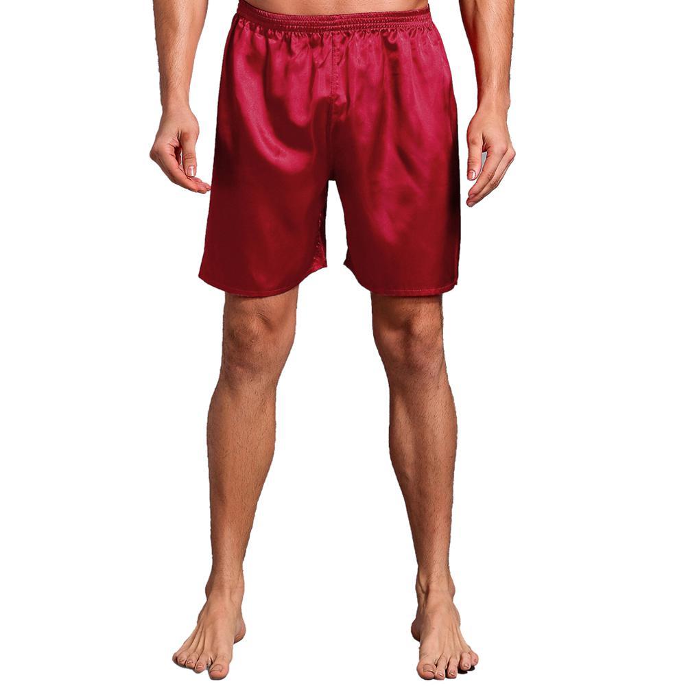 Большой размер 3XL халат для мужчин вышивка платье с драконами ночное белье мягкое атласное Lounge Ночная рубашка пижамы сексуальное свободное повседневное кимоно платье - Цвет: Red Shorts