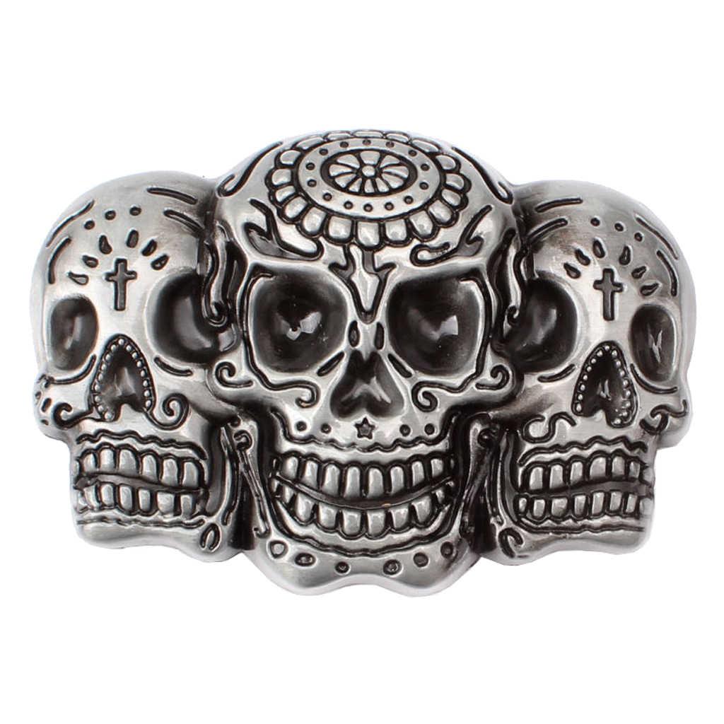 Erkekler Punk kafatası kemer toka antika gümüş 3D kafatası başkanı gotik motosiklet Biker