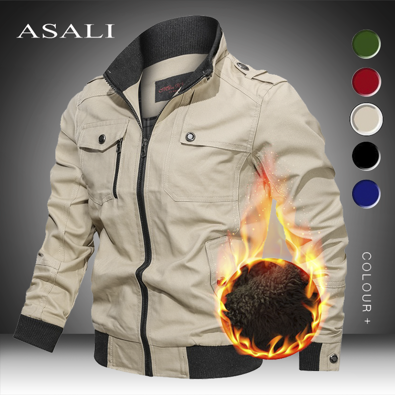 2020 Winter Military Men Bomber Jacket Therm Casual Mens Thick Fleece Army Tactical Coat Fur Collar Windbreaker Jackets Clothing