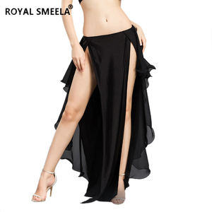 Image 3 - Hot Sale New double slit belly dancing skirts sexy swing Belly dance performance dress lotus skirt belly dance costume  6810