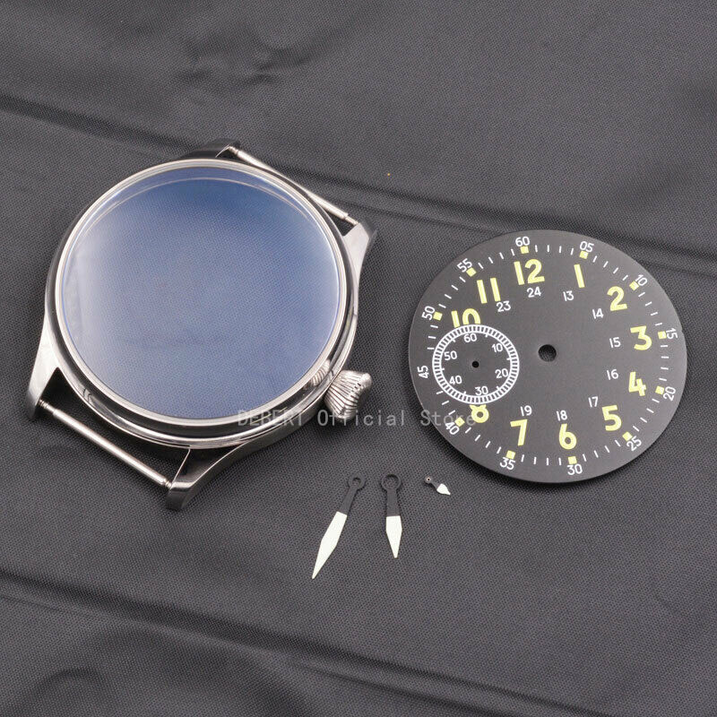 Corgeut44mm Mens Watch Case Parts 316 Stainless Steel Sterile Dial Hands Lumiouns Waterproof Fit 6497/st3600 Hand Winding Move't