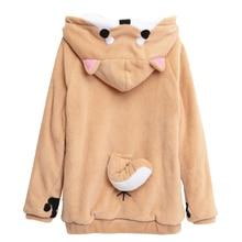 Akita Dog Ear And Tail Sweatshirt Plush Women Raglan Hoodie Poleron Mujer 2020 Kangaroo Pocket Hoodie Paws Front Button Hoodie