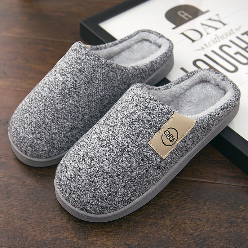 Men Winter Warm Slippers Fur Slippers Men Boys Plush Slipper Cotton Shoes Non-slip Solid Color Home Indoor Casual Slippers 6