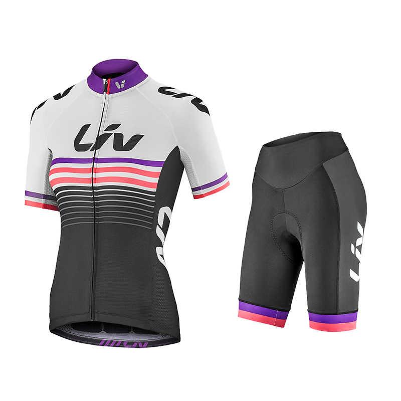 2019 zomer Team liv vrouw Wielertruien Fiets kleding Sneldrogende bib Sets Kleding Ropa Ciclismo uniformes Maillot Sport dragen