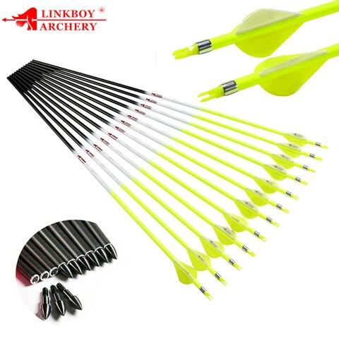 12pcs linkboy tiro com arco flechas de carbono puro id6 2mm spine300 600 2 polegada
