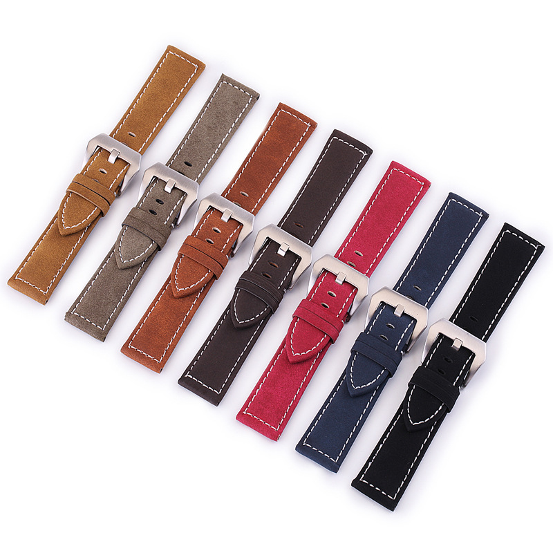 Genuine Leather Strap 18mm 20mm 22mm 24mm For Samsung Galaxy Watch 42mm 46mm Quick Release Adjustment Replacement Bracelet Strap