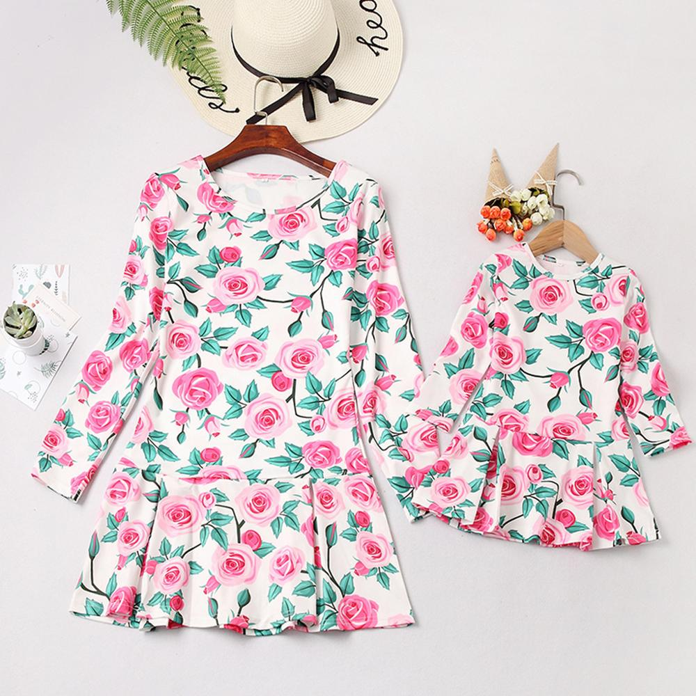 Mommy&Me Women Long Sleeve O-Neck Print Floral Dress Child Girls Square Strapless