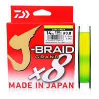 Daiwa original novo J-BRAID grande linha de pesca trançada pe linha 135 m 150 m 8 fios monofilamento de pesca 10-60lb feito no japão