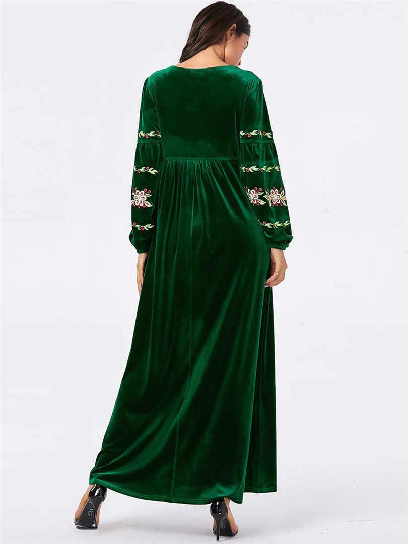 Арабское золото бархат вышитые абайя Зима красное вино зеленый мусульманское платье для женщин исламский кафтан Марокканская Турция Макси платья