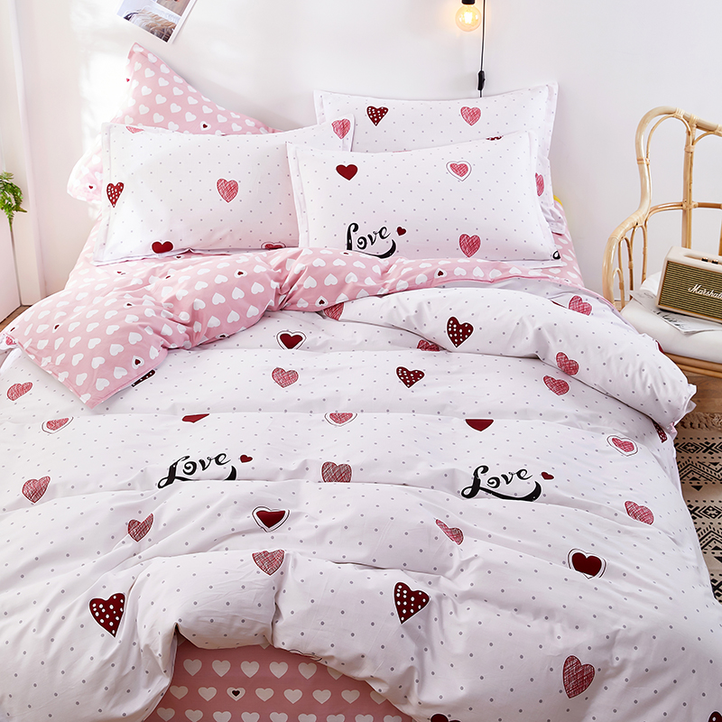Girls Sweet Heart Bed Sheet Set Luxury Bed Sheets Extra Soft 4 Piece including Flat Sheet,Fitted Sheet,and 2 Pillowcases