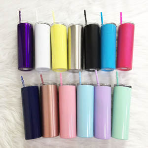 Skinny Tumbler Straw Water-Bottle Vacuum-Insulated-Cup Stainless-Steel Double-Wall Wine