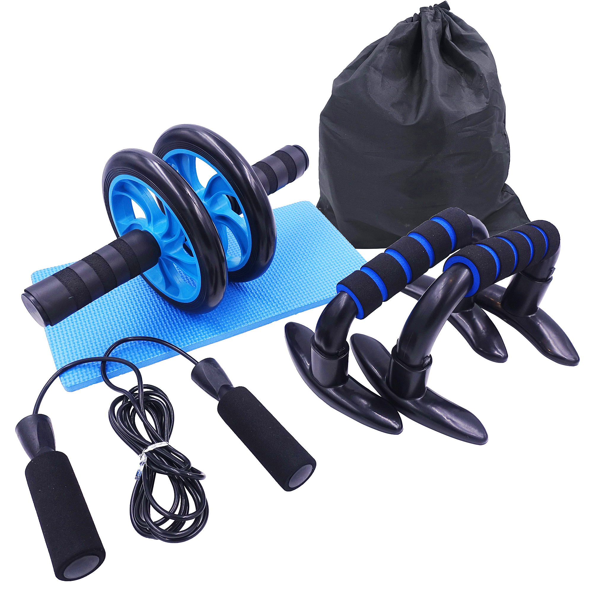 AB Roller Kit Strong Load-bearing with Push-Up Bar Jump Rope Knee Pad Home Gym Abdominal Core Muscle Exercise Fitness Equipment image