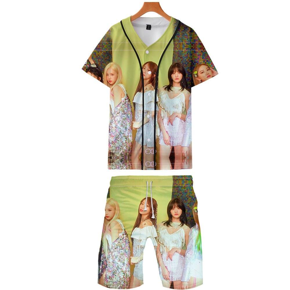 2019 Summer New Style South Korea EXID Combination 3D Thin Baseball Uniform + Beach Pants Set Hot Sales