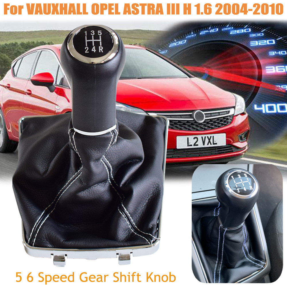 Gearbox Handles Manual <font><b>5</b></font> 6 Speed Gear Shift Knob For AUXHALL OPEL ASTRA III H 1.6 <font><b>2004</b></font> 2005 2006 2007-2010 With Dust-Proof Cover image
