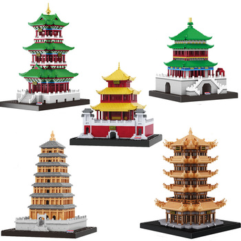 Famous Ancient Chinese Architecture mini diamond Blocks Model The tower Building Blocks Educational Kids Toys Bricks Gifts balody world famous architecture usa the white house building blocks 3d model diy mini diamond blocks bricks children toy gifts