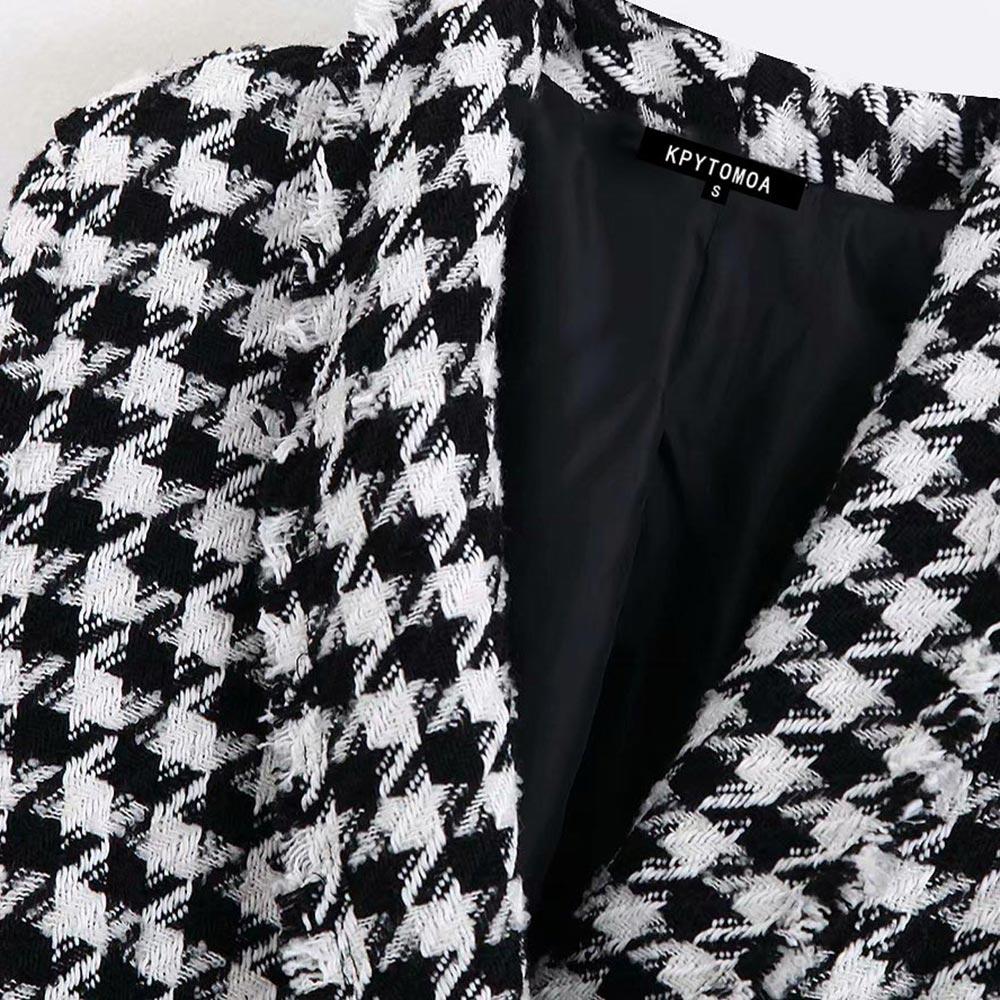 Women Blazer Jacket Vintage Houndstooth Double Breasted Blazer Coat Women 2019 Fashion Long Sleeve Frayed Chic Plaid Outerwear