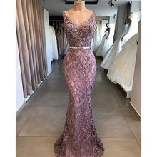 Sexy Mermaid Evening Dress Long  V-Neck Sleeveless Lace Formal Dress with Belt Robe De Soiree