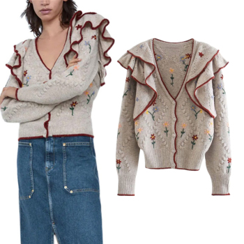 Za 2020 Autumn Embroidered Vintage V-neck Knitted Sweater Ladies Retro Ruffled Long-Sleeved Cardigan Ladies Casual Loose Sweater xnwmnz za classic cozy pompon twist knitted cardigan women buttons v neck casual female outwear fashion autumn ladies sweater