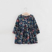 Хлопковая детская одежда для девочек, платья с цветочным принтом, детское платье с длинными рукавами, одежда для маленьких девочек