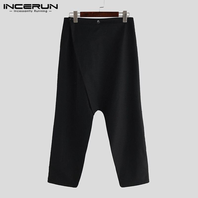 INCERUN Men Black Loose Harem Pants Streetwear Men Buttons Sweatpants Male Streetwear Casual Mens Solid Color Trousers S-5XL